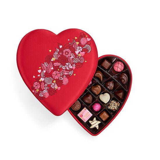 Valentine's Day Fabric Heart Chocolate Gift Box, 25 pc. | GODIVA