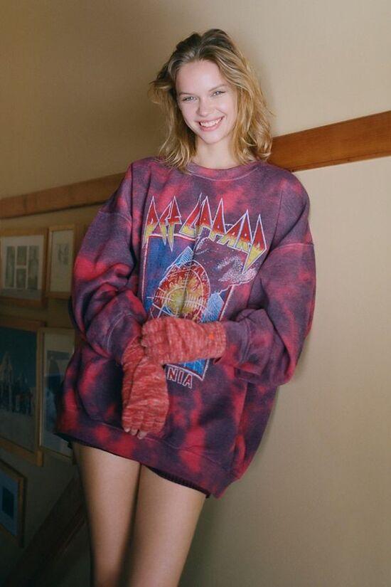 Def Leppard Pyromania Tie-Dye Crew Neck Sweatshirt