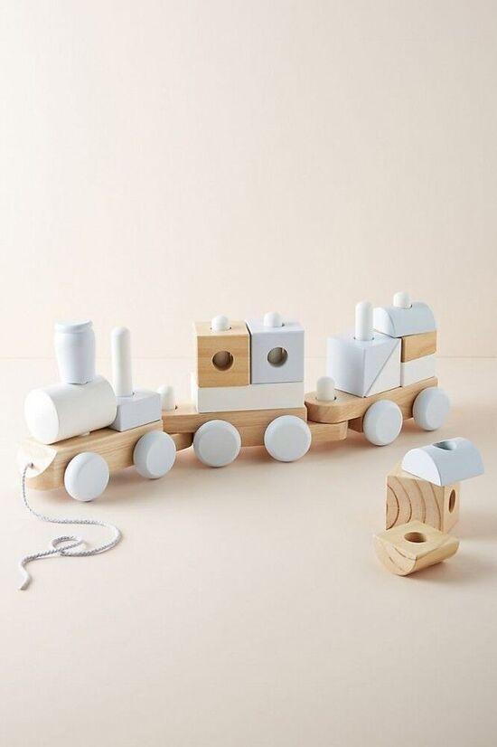 Wooden Block Train Toy