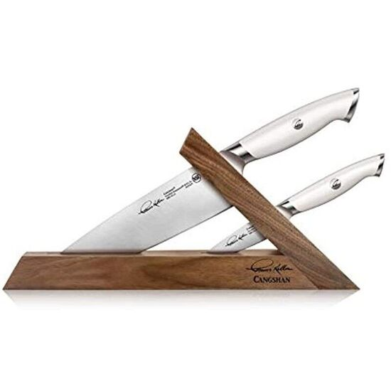 Cangshan Thomas Keller Signature Collection Swedish Powder Steel Forged, 3-Piece TAI Block, Walnut, White