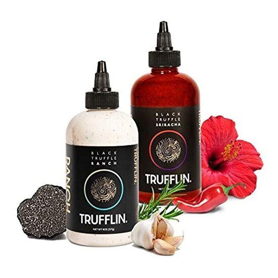 TRUFFLIN Sriracha & Ranch VIP Set-Gourmet Hot Sauce w/Aged Peppers & No Added Sugar,Creamy Ranch w/Organic Black Truffle Oil & Aromatic Herbs in a Sleek Gift Box,A Match Made In Truffle Heave