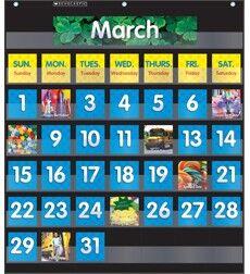 SCHOLASITC Pocket Chart Monthly Calendar (Black)