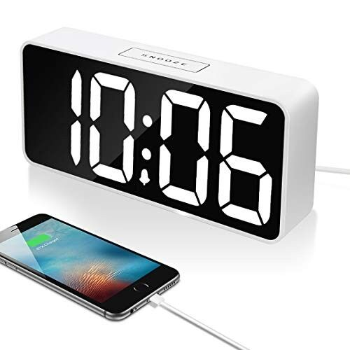 """AMAZON 9"""" Large LED Digital Alarm Clock with USB Port for Phone Charger, 0-100% Dimmer, Touch-Activated Snooze, Outlet Powered (White)"""