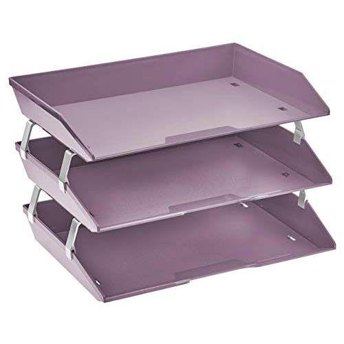 AMAZON Acrimet Facility 3 Tier Letter Tray Plastic Desktop File Organizer (Solid Purple Color)