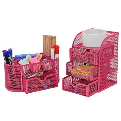 AMAZON PAG Office Supplies Mesh Desk Organizer Set Pen Holder Accessories Storage Caddy with Drawer, Rose