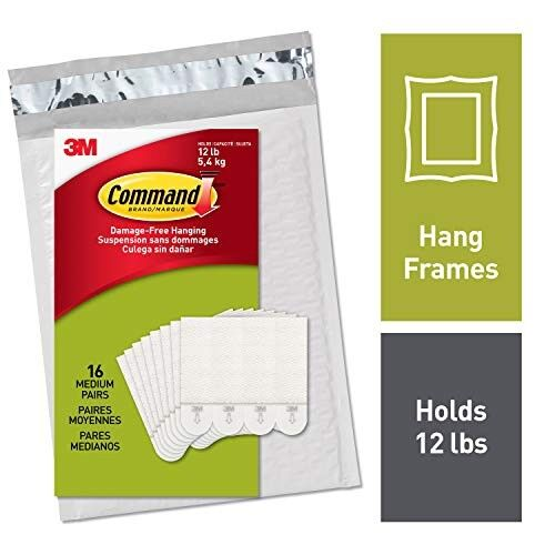 AMAZON Command Medium White Picture Hanging Strips, 16 pairs (36 strips), Easy to Open Packaging (PH204-16NA)