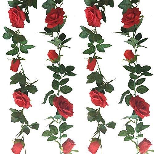 AMAZON Jing-Rise 2pcs 6.5Ft Artificial Rose Vine Silk Flower Garland Hanging Baskets Plants Home Outdoor Wedding Arch Garden Wall Decor (Red)