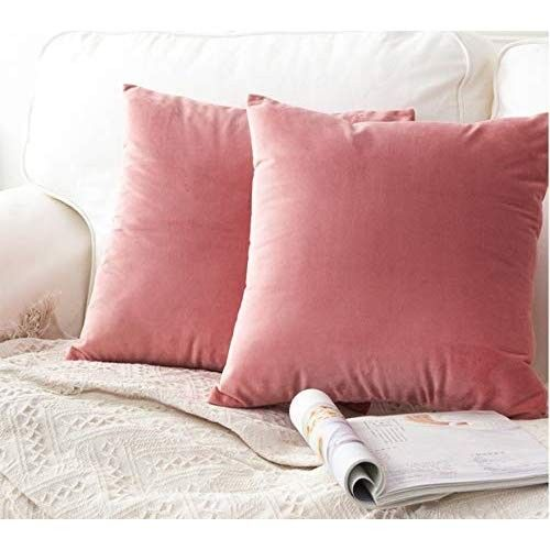 AMAZON Lawei Set of 4 Throw Pillow Covers - 18 x 18 inch Square Soft Velvet Pillow Cover Decorative Couch Cushion Case for Home Decoration, Bedroom, Sofa, Car