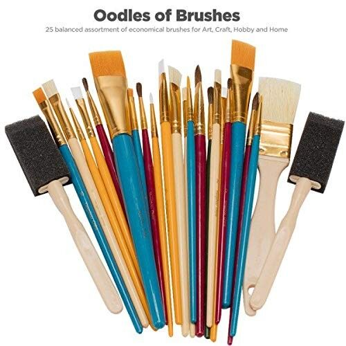AMAZON OODLES OF Paint Brushes Kid's Art, Paint, Craft & Multiple Mediums, Beginner Artist & Classroom [Set of 25 Assorted Bulk Pack] Perfect For Watercolor, Oil, Acrylic, Tempera Paints & Mo