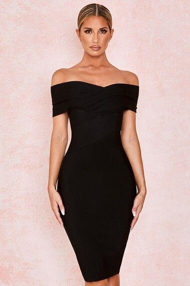 'Clarissa' Black Off Shoulder Bandage Dress