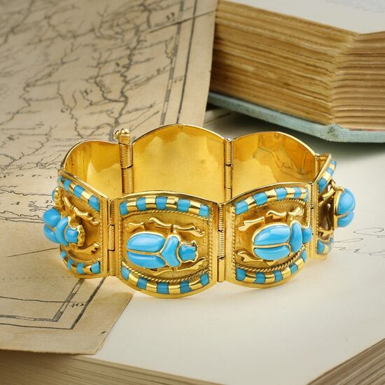 Egyptian Revival Glass and Gold Bracelet - FD Gallery