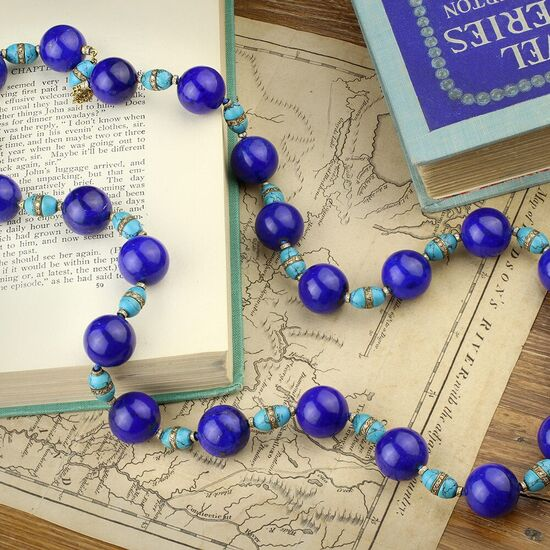 Gold, Lapis Lazuli, Turquoise and Diamond Necklace - FD Gallery