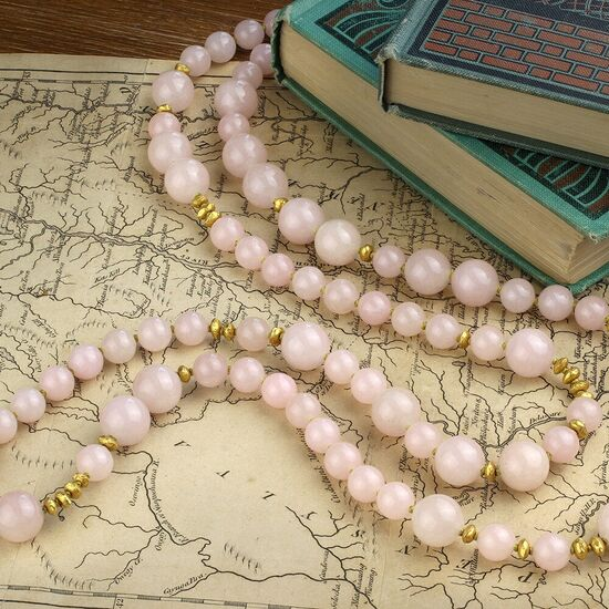 Rose Quartz and Gold Bead Necklace - FD Gallery