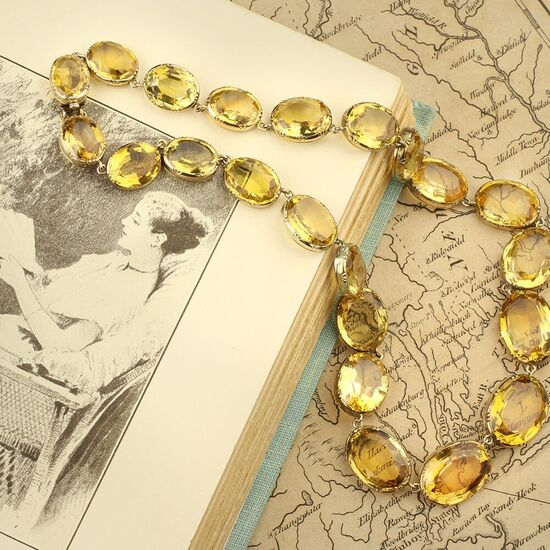 Antique Gold and Citrine Riviere Necklace - FD Gallery
