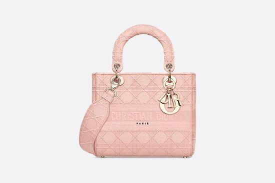Medium Lady D-Lite Bag Bois De Rose Cannage Embroidery - Bags - Women's Fashion | DIOR