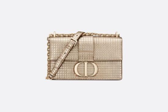 30 Montaigne Chain Bag Metallic Gold Microcannage Calfskin - Bags - Women's Fashion | DIOR