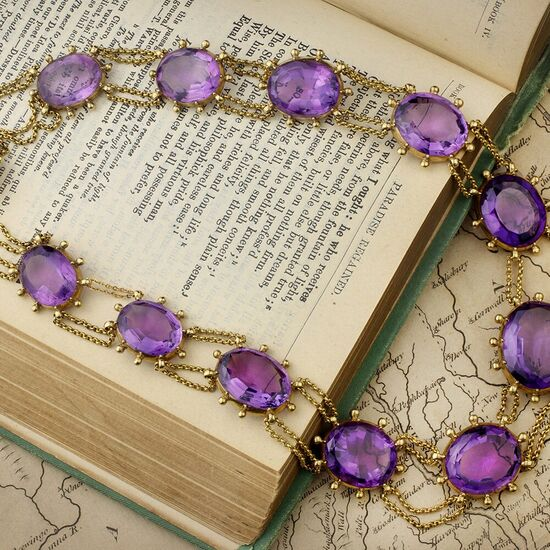 Antique Gold and Amethyst Swag Necklace - FD Gallery