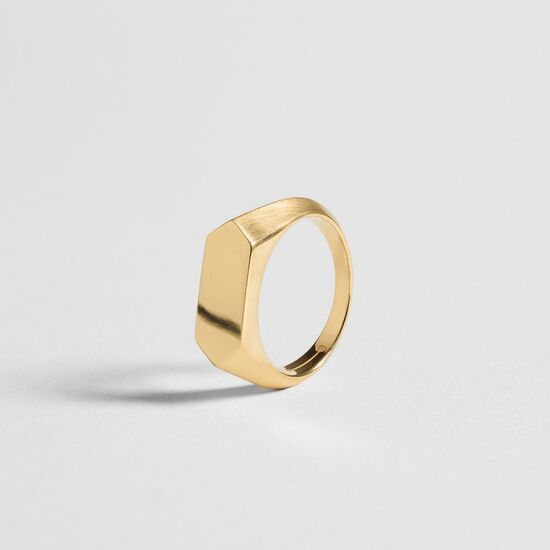 HEX SIGNET RING / gold