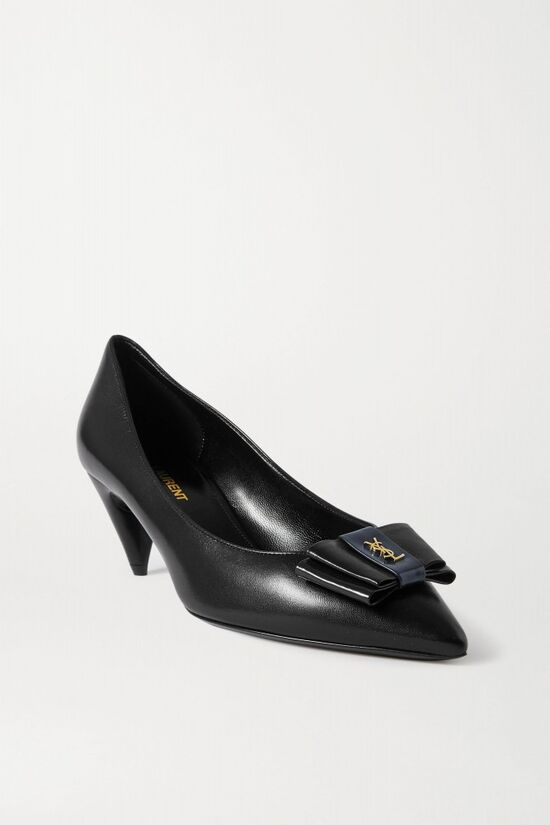 Saint Laurent Black Anais Bow Embellished Pumps