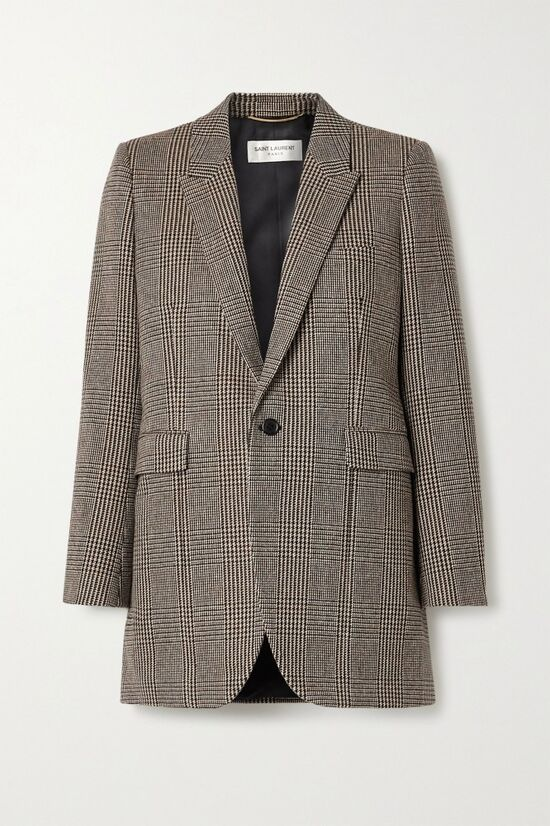 Saint Laurent Gray Checked Wool Blazer