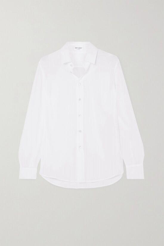 Saint Laurent White Silk Crepe De Chine Blouse