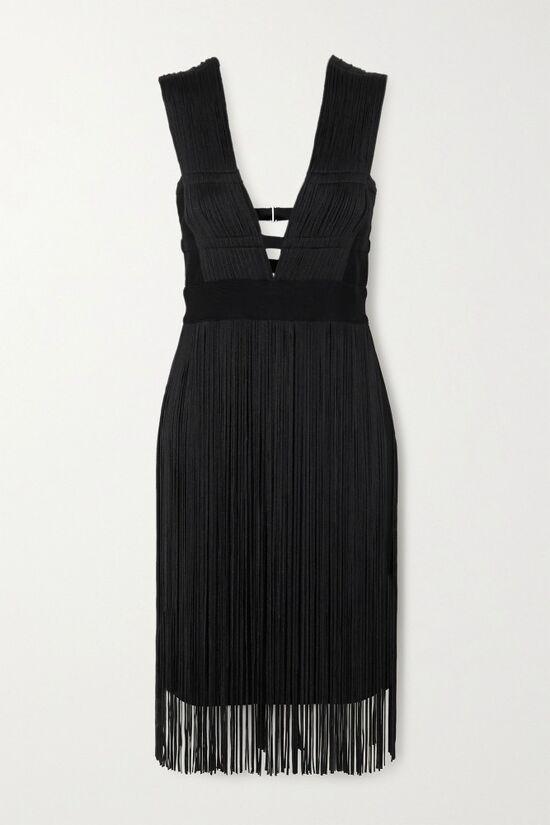 Hervé Léger Black Fringed Cutout Dress
