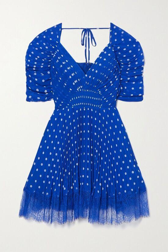 Self Portrait Blue Lace Pleated Chiffon Mini Dress