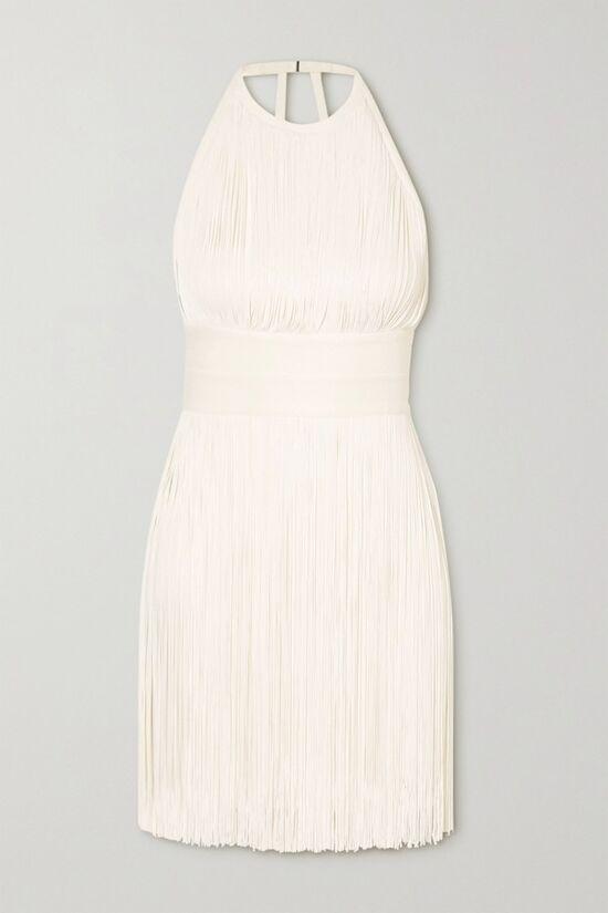 Hervé Léger White Fringe Halterneck Bondage Dress