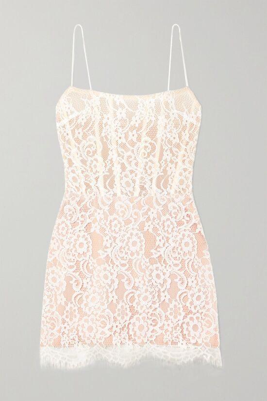 Rosario White Lace Tulle Mini Dress