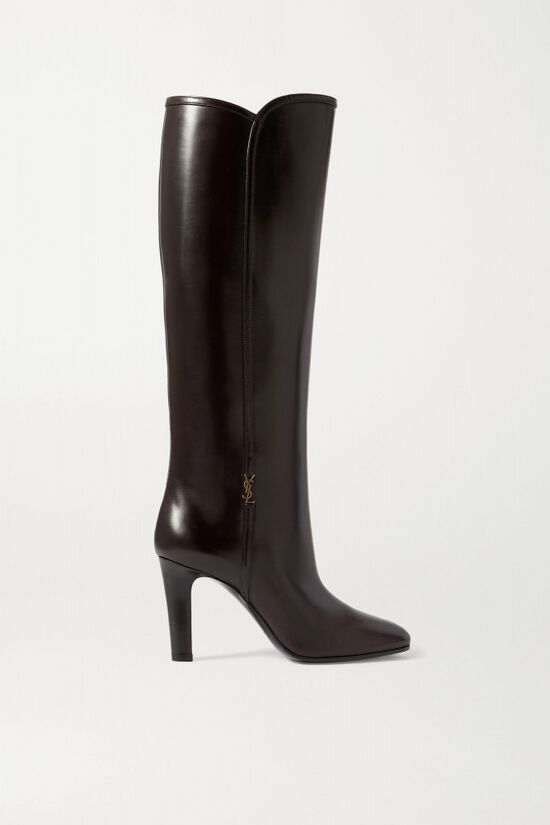 Saint Laurent Embellished Leather Knee Boots