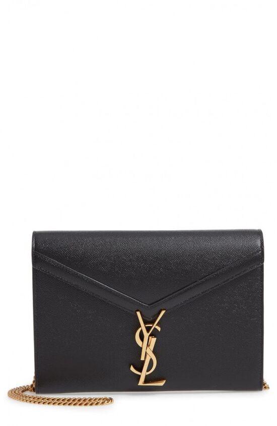 Saint Laurent Cassandra Leather Wallet on a Chain | Nordstrom