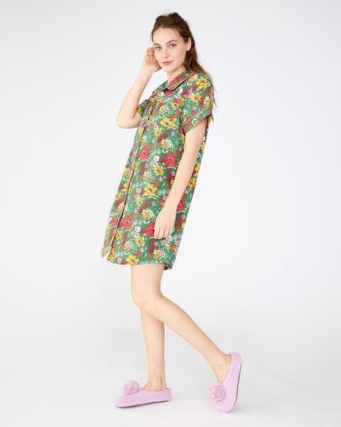 Short Sleeve Leisure Dress - Emerald Super Bloom