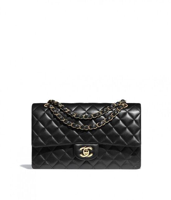 Classic Handbag, lambskin & gold-tone metal, black - CHANEL