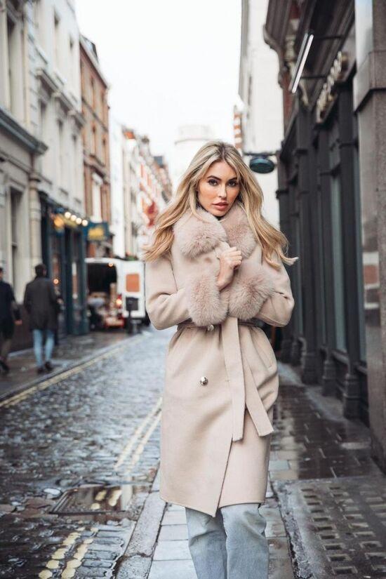 NEW IN Monaveen Sophie Wool Cashmere Coat NUDE