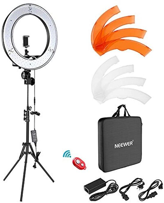 Neewer Camera Photo Video Lightning Kit: 18 Inches/48 Centimeters Outer 55W 5500K Dimmable LED Ring Light, Light Stand, Bluetooth Receiver for Smartphone, YouTube, TikTok Self-Portrait Video