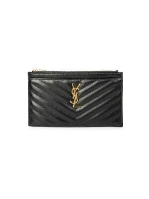 Saint Laurent - Monogram Matelassé Leather Zip Pouch