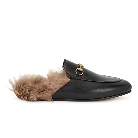Princetown fur-trimmed leather loafers
