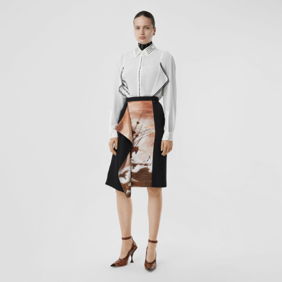 Ship Print Silk Panel Wool Pencil Skirt in Black - Women | Burberry United States