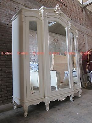 BESPOKE Large Armoire wardrobe with mirrors Rococo solid mahogany wood white   | eBay