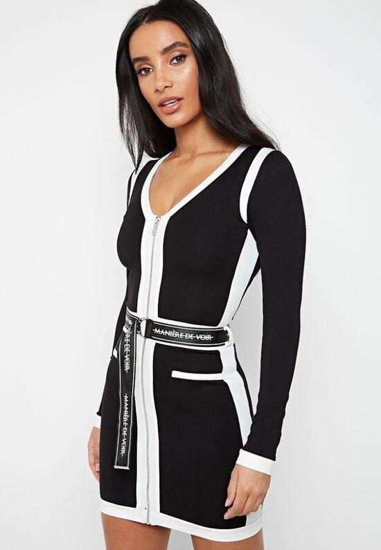 Contrast Panel Dress