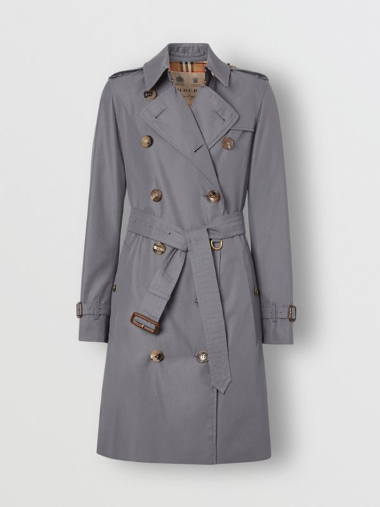 The Mid-length Kensington Heritage Trench Coat in Mid-grey - Women   Burberry United States