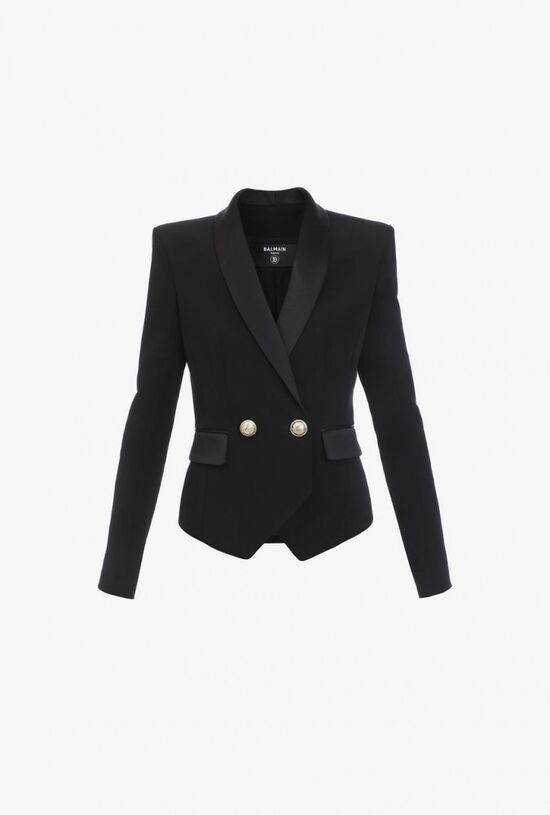 Black Crepe Blazer With Gold Tone Buttons for Women - Balmain.com