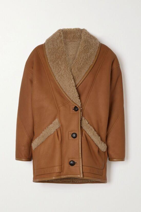 ISABEL MARANT Audrina shearling-trimmed leather jacket