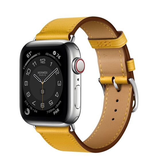 Apple Watch Hermès GPS + Cellular, 40mm Silver Stainless Steel Case with Jaune Ambre Swift Leather Single Tour