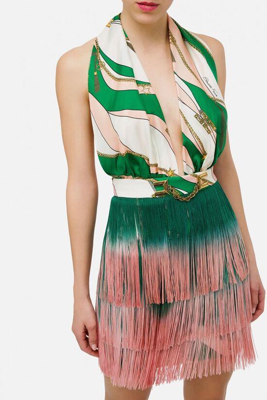 Short silk dress with fringes