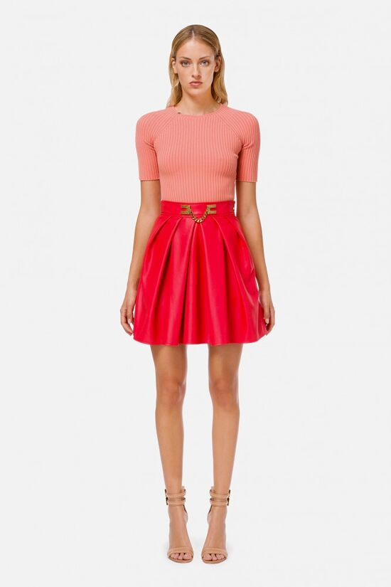 Faux leather circle skirt with gold detailing