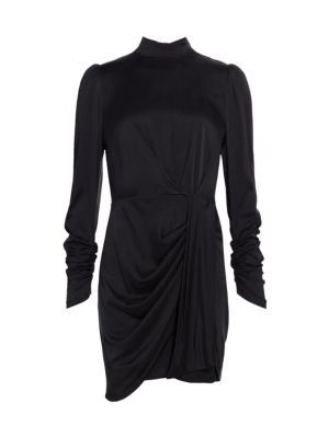 Zimmermann - Ladybeetle Drape Long-Sleeve Silk-Satin Sheath Dress
