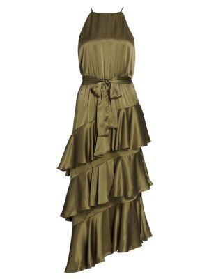 Zimmermann - Ladybeetle Asymmetric Tier-Ruffle Silk Midi Dress