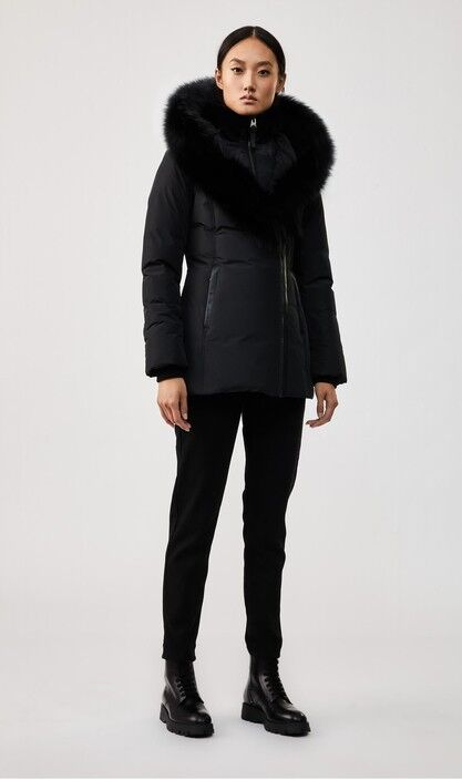 ADALI down coat with signature blue fox fur collar | MACKAGE