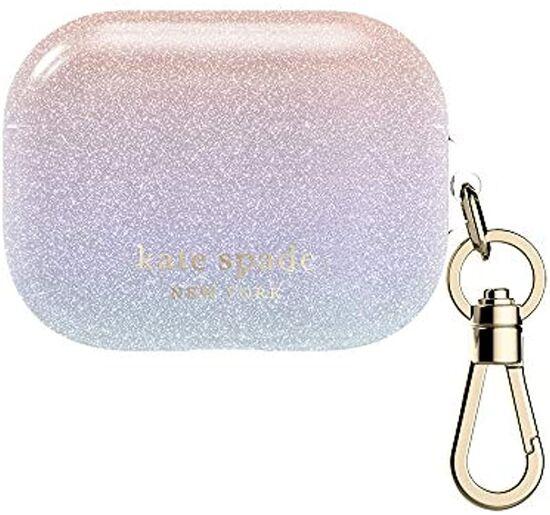 Kate Spade New York Airpods Pro Case - Ombre Glitter Pink/Purple/Blue/Glitter/Gold Logo/Premium Gold Hardware (KSAP-002-OMBGL)